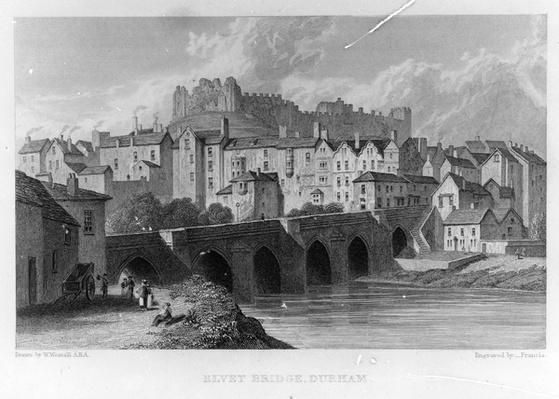Elvet Bridge, Durham, engraved by � Frances after W. Westall, 1829