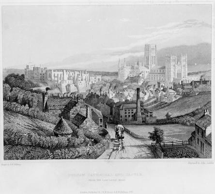 Durham Cathedral and Castle from Newcastle Road, engraved by John Saddler after R. W. Billings, 1841