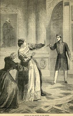 Attack of Don Miguel on his Sister, taken from Cassell's Illustrated History of England, 1857/1858