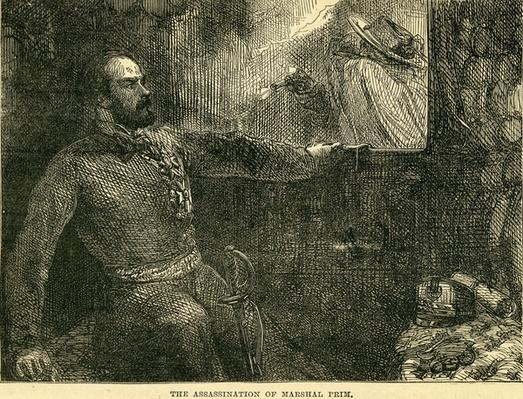 "The Assassination of Marshall Prim, illustration taken from Cassell's ""Illustrated History of England"", 1857/58"