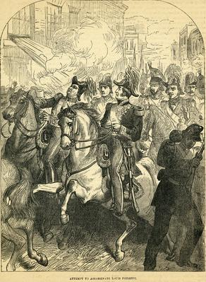 "The Attempt to assassinate King Louis Philippe of France, illustration taken from Cassell's ""Illustrated History of England"", 1857/1858"
