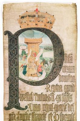 Illuminated initial, Coram Rege Rolls, 1553
