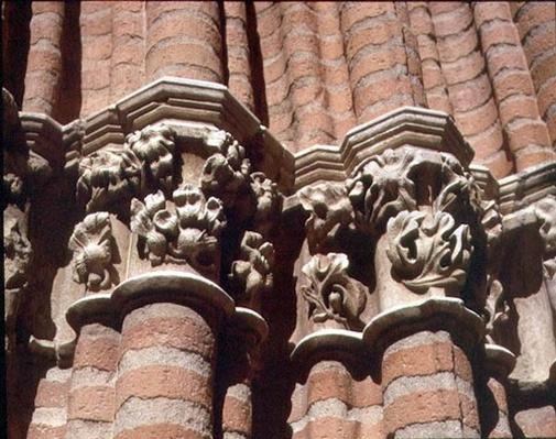 Detail of the carved capitals on the south porch, 1265-98