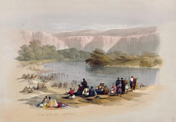 Banks of the Jordan, April 2nd 1839, plate 48 from Volume II of 'The Holy Land', engraved by Louis Haghe