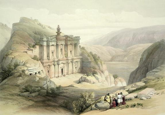 El Deir, Petra, March 8th 1839, plate 90 from Volume III of 'The Holy Land', engraved by Louis Haghe