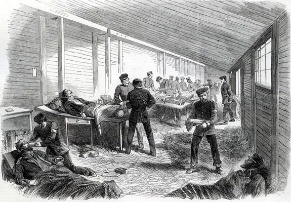Temporary Field Hospital behind the Second Prussian Parallel at Dueppel, 1864