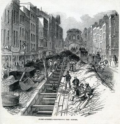 Deepening the Fleet Street Sewer, London, 1845