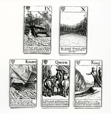 Playing Cards depicting the events from the Spanish Armada, 1699