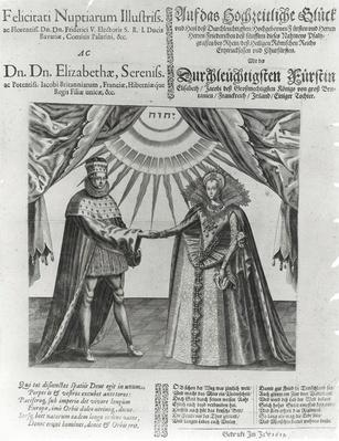 Commoration of the marriage of Elizabeth Stuart, the daughter of James I, to the Frederick V, the King of Bohemia, 1613
