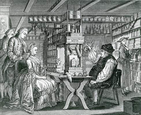 La Pharmacie Rustique, print made by Bartolomaus Hubner