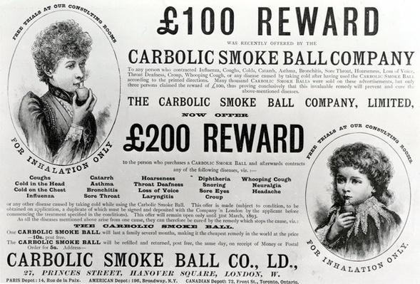 Advertisement for the Carbolic Smoke Ball Company, 1893
