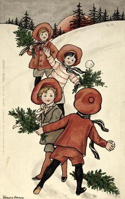 Children with Holly Throwing Snowballs