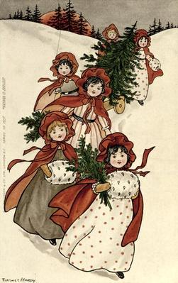 Little Girls with Holly and the Christmas Tree