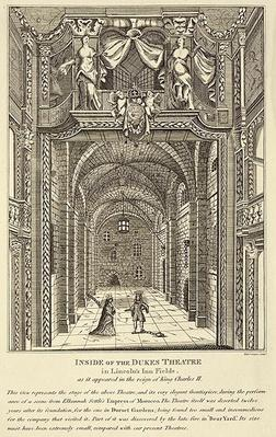 Inside of the Dukes Theatre in Lincoln's Inn Fields as it appeared in the reign of King Charles II