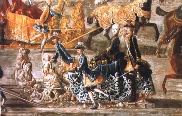 The Imperial Sleigh Ride on the occasion of the marriage of Emperor Joseph II of Austria to his 2nd wife Maria Josepha von Bayern: detail of a sleigh