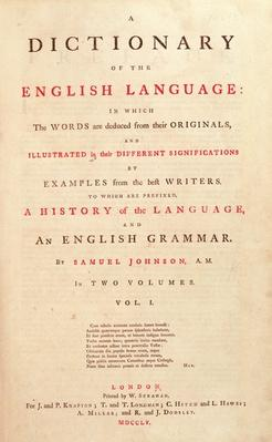 Title page of Johnson's Dictionary of the Human Language London, 1755