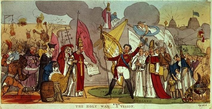 The Holy War - A Vision, satirical cartoon of the struggle for Catholic Emancipation in Ireland, 1826
