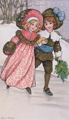 Girl and Boy Skating, late 19th or early 20th century