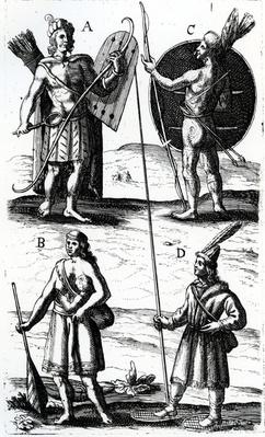 Illustrations of Algonquin dress, engraving from Voyages of Sieur de Champlain by Samuel de Champlain