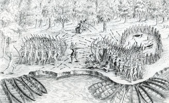 Fighting of Hurons, from 'Voyage de Champlain in 1624' by Samuel de Champlain, 1567-1635