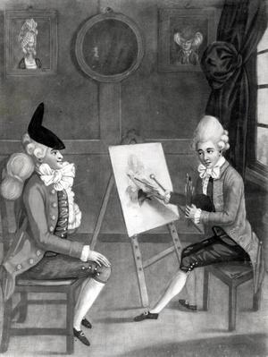The Macaroni Painter, or Billy Dimple fitting for his Picture, published by Bowles and Carver, 1772