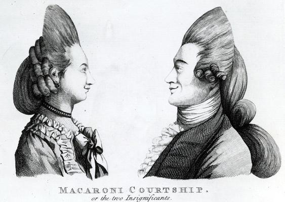 Macaroni Courtship, or the two Insignificants, published by M. Darly, 1772