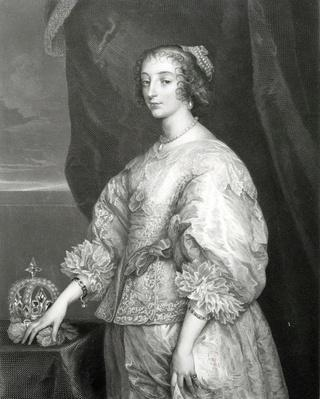 Queen Henrietta Maria by F Joubert, after a picture in the Royal Collection by Van Dyck, 1851-1854