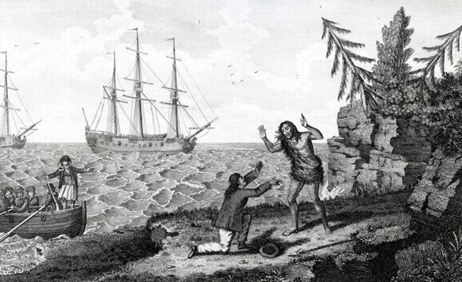 "Affecting interview of two Mokito Men, illustration taken from ""Moore's Voyages and Travels"", 1778"