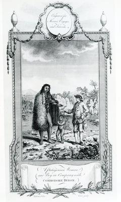 A Patagonian Woman and Boy in Company with Commodore Byron, illustration taken from Moore's Voyages and Travels, 1778