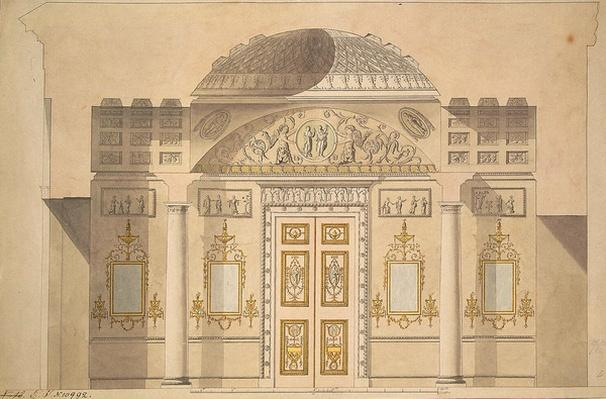 Elevation of the Mirror Wall in the Jasper Study in the Agate Pavilion at Tsarskoye Selo, 1780
