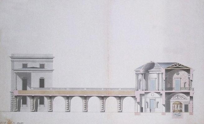 Cross-Section of the Agate Pavilion and Hanging Garden at Tsarskoye Selo, c.1780