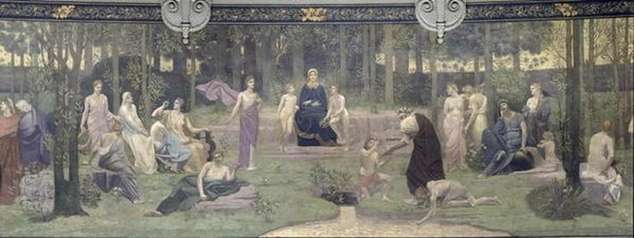 The Sacred Wood, allegorical mural in the Grand Amphitheatre, central detail of the Sorbonne, Eloquence, Poetry, the Life-Giving Source and Science, 1887-89
