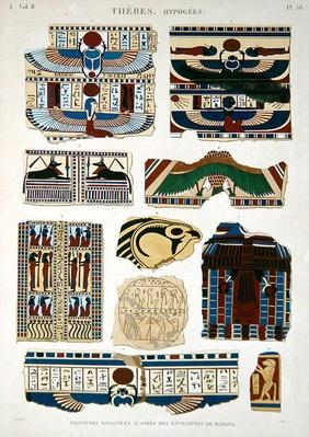 Illustrations of painted designs from the wrappings of the mummies, Hypogees, Thebes, plate 58 from Vol II of `Descriptions of Egypt`, engraved by Willemin, 1822