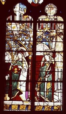 The Annunciation with St. Catherine, from the Chapel of St. Ursinus, attributed to Henri Mellein