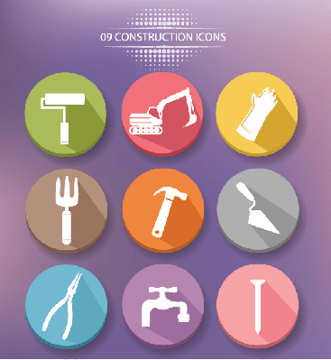 Construction Buttons,Colorful Version,Vector | Clipart
