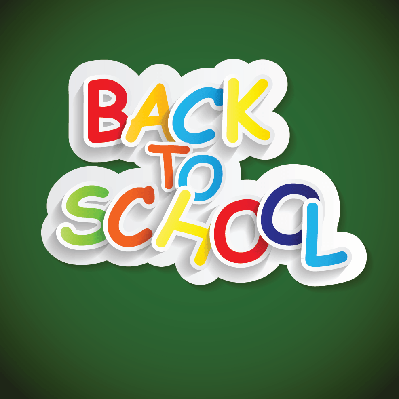 Back to School Label Concept (green background) | Clipart