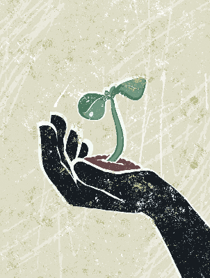 Young Seedling in a Protective Hand | Clipart