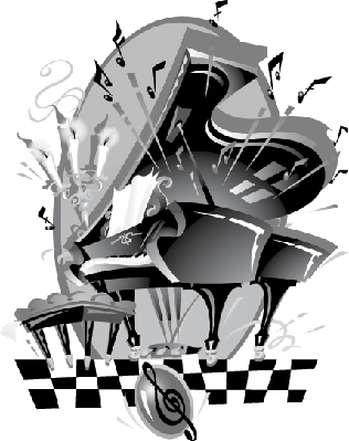 Grand Piano: Grayscale Grouped Elements | Clipart