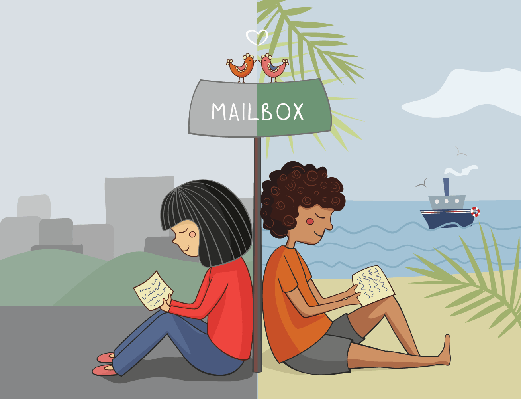 Multicultural Girl and Boy Read Mail | Clipart