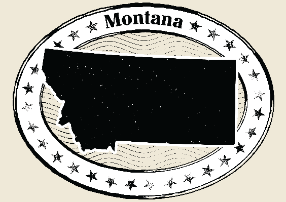 Montana Grunge Map Black and White Stamp Collection | Clipart