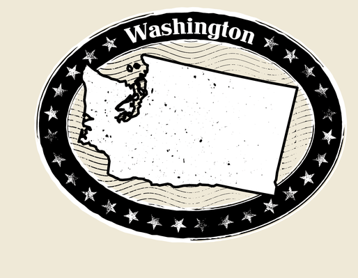Washington Grunge Map Black and White Stamp Collection | Clipart