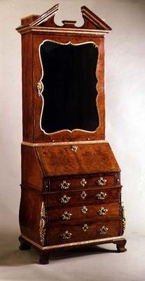 George I bureau bookcase with bombe sides, c.1720