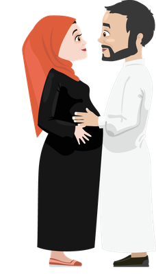 Khaliji Couples Expecting a Baby | Clipart