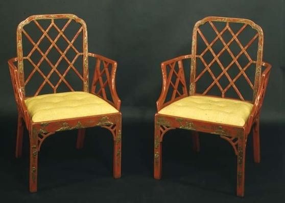 Two Chinese Chippendale armchairs, c.1760