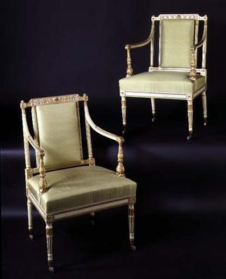 Pair from a set of ten dining chairs, carved in the Adam style, c.1781