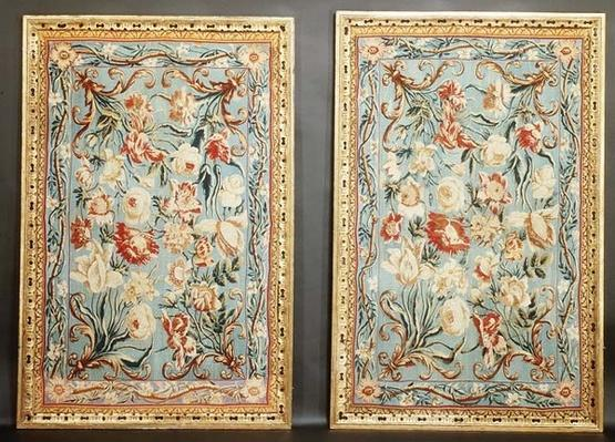 Pair of floral Soho tapestries, framed, 18th century