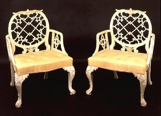 Pair of painted and carved armchairs, George III, late 18th century
