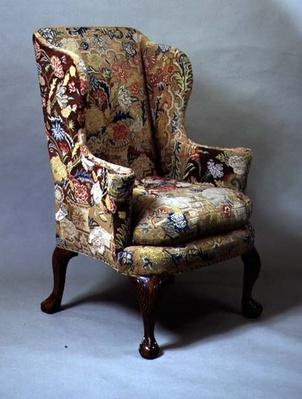 George I wing chair with contemporary needlework, c.1720