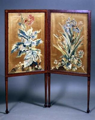 Embroidered Sheraton two-fold screen with satinwood inlay, late 18th century