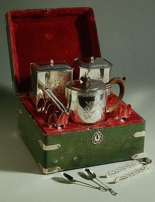 George III tea set in leather case, 1760-1820